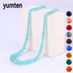 Yumten Women Necklace Natural Crystal Power Stone Agate Beads Chain Reiki Charm Gemstone Female Choker Male Men Fine Jewelry Bag