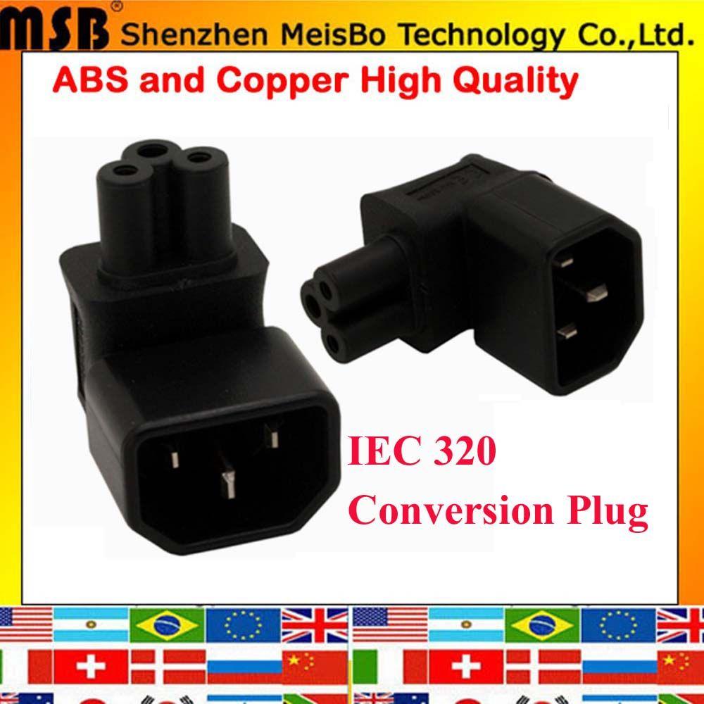 Black Copper Standart 2.5A 110-250V IEC320 C14 male to C5 female plum power adaptor plug convert socket