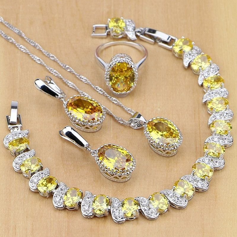 925 Sterling Silver Jewelry Yellow Cubic Zirconia Jewelry Sets For Women Earrings/Pendant/Necklace/Rings/Bracelet