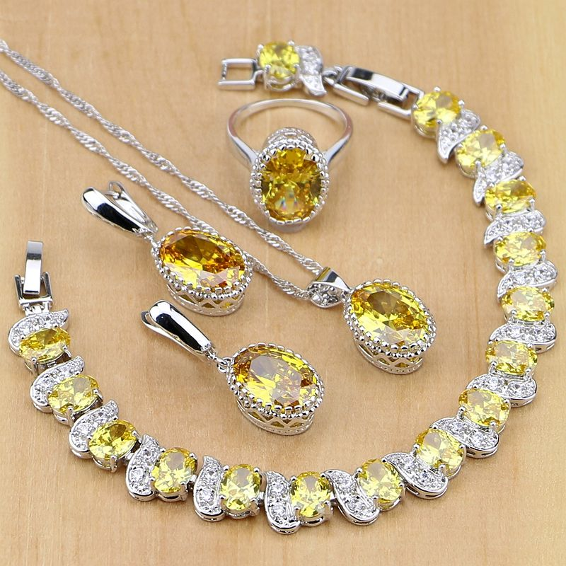 925 Sterling Silver Jewelry Yellow Cubic Zirconia Jewelry Sets For Women Earrings/<font><b>Pendant</b></font>/Necklace/Rings/Bracelet