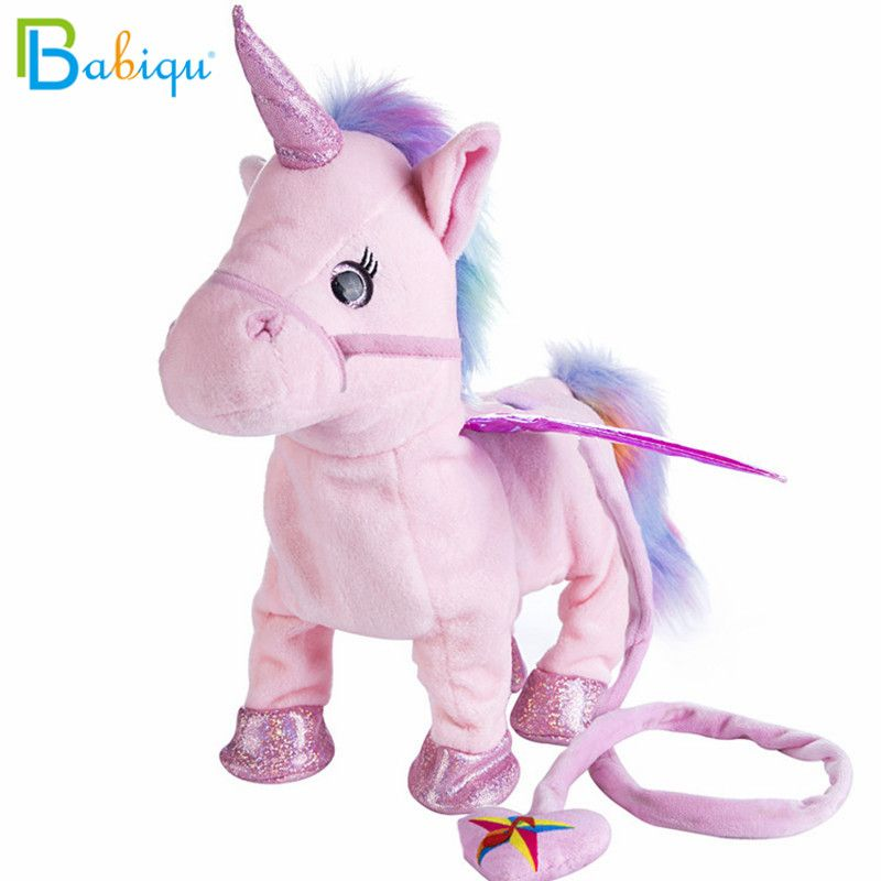Babiqu 1pc Electric Walking Unicorn Plush Toy Stuffed Animal Toy Electronic Music Unicorn Toy for Children Christmas Gifts 35cm