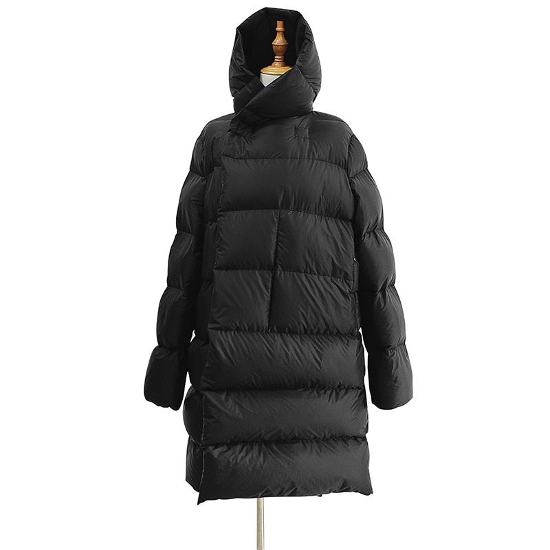 WSYORE Lange Parka Frauen Schwarz Unten Jacke Weibliche Winter Neue Dark Wind Lange Unten Mantel Lose Mit Kapuze Warme Brot Jacken NS856