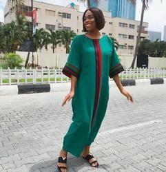 Africano tradicional de las mujeres vestido verde África estilo riche Vestidos invierno Maxi Vestidos long robe de Soiree