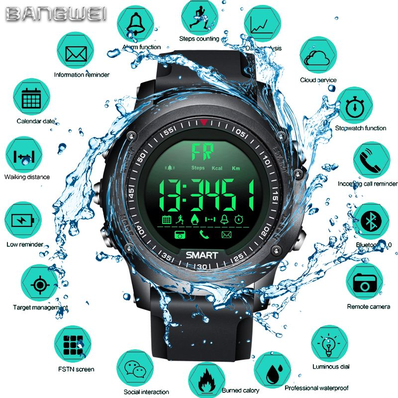 BANGWEI Sports Smart Watch Men Multifunction Digital Clock Bluetooth Pedometer IP68 Waterproof Smart Electronic Watch Relogios