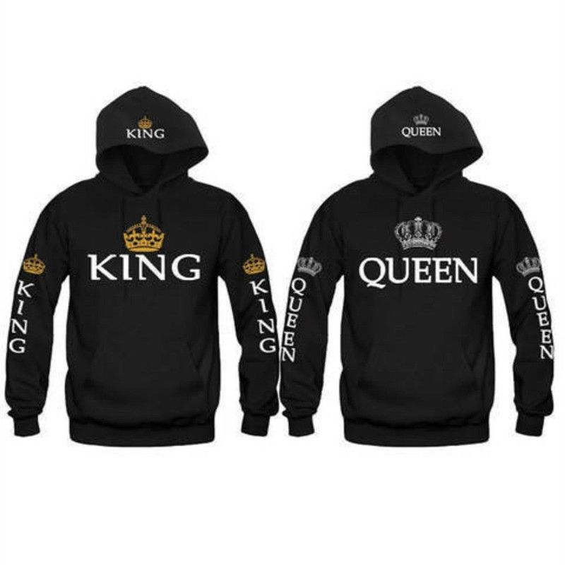 Couple Look Woman Man Hoodies Sweatshirt King Queen <font><b>Crown</b></font> Printed Hooded Pullover Jackets Loose Jackets Tracksuit Jumper Black