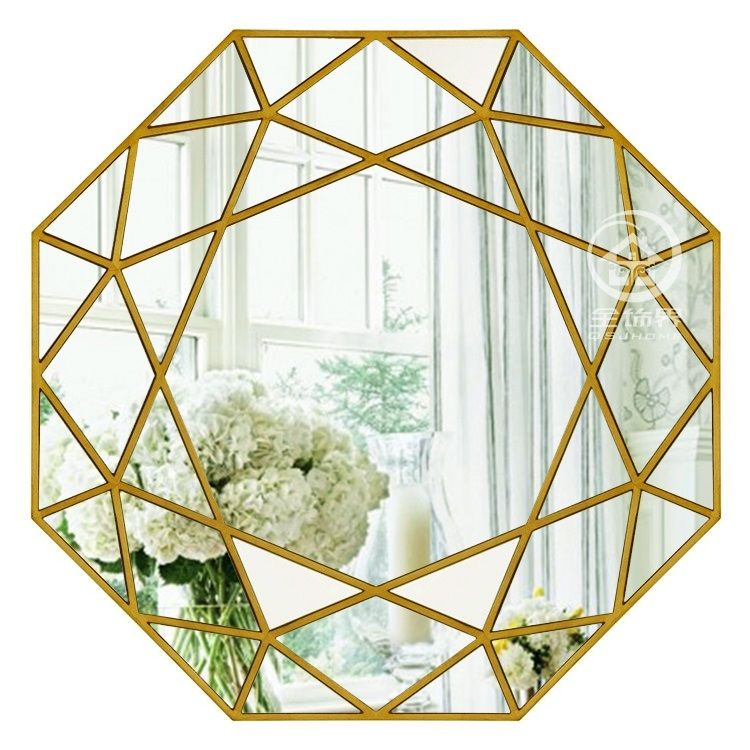 Modern round mirror glass console mirror geometric wall mirror decorative mirrored wall art