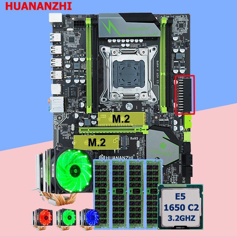 Marke Motherboard mit DUAL M.2 slot HUANANZHI X79 Pro motherboard mit CPU Xeon E5 1650 C2 3,2 GHz 6 rohre kühler RAM 32G (4*8G)