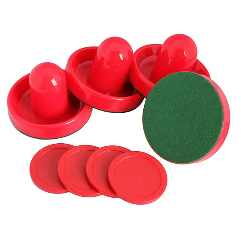 4Pcs/Set Air Hockey Pushers and Air Hockey Puck Air Hockey Ball Table Goalies with Puck Felt Pusher Mallet Grip Red