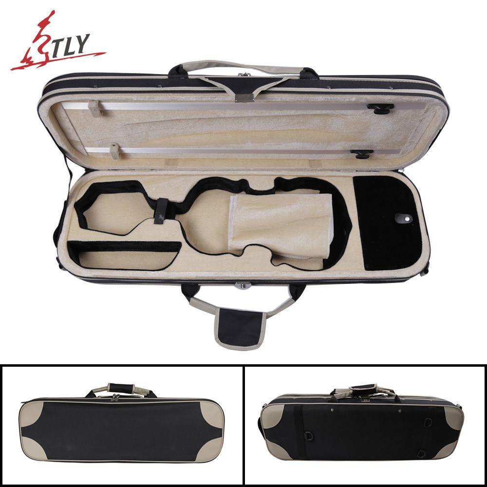 TONGLING High Grade Over-edging Violin Case w/ Hygrometer Black Canvas Violino Case Professional Violin Accessories