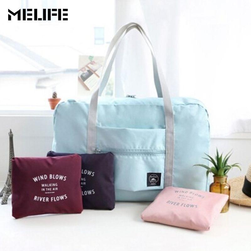 MELIFE Waterproof folding bag Women nylon Travel bags hand luggage for men Fashion duffle handbag Casual large capacity shopping