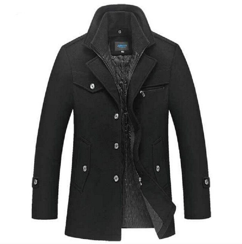 Winter Wollmantel Männer Slim Fit Jacke Herren Mode Oberbekleidung Warm Männlich Beiläufige Jacken Mantel Woolen Pea Coat Plus Größe XXXXL