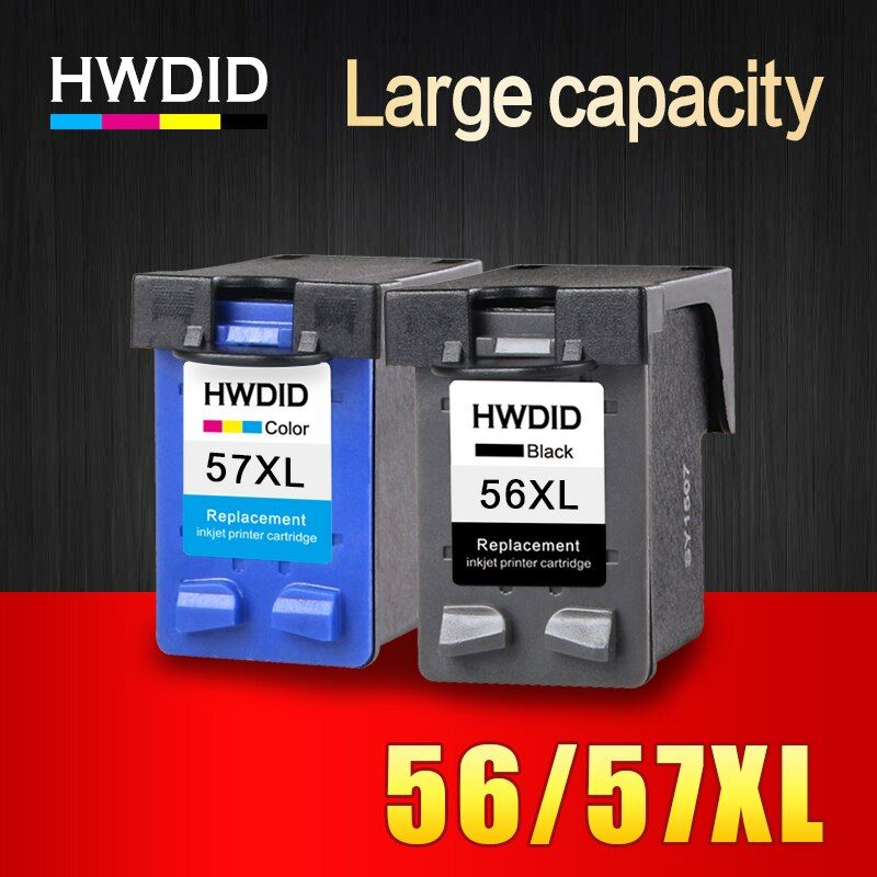 HWDID 56XL 57XL Refilled Ink cartridge Replacement for HP 56 57 for Deskjet 450CI 5550 5552 7150 7350 7000 2100 220 Printer
