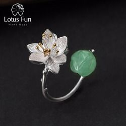 Lotus Fun Real 925 Sterling Silver Natural Aventurine Handmade Fine Jewelry Flower Ring Lotus Whispers Rings for Women Bijoux