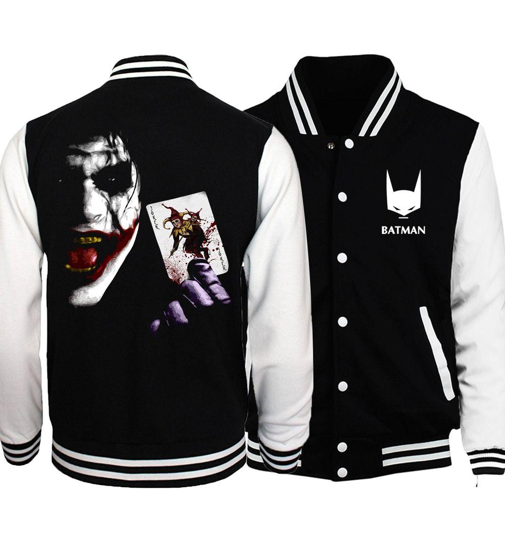 2017 spring fashion Black Super Villain Heath Ledger brand clothing funny hip hop sweathsirts The Joker Poker print men jacket