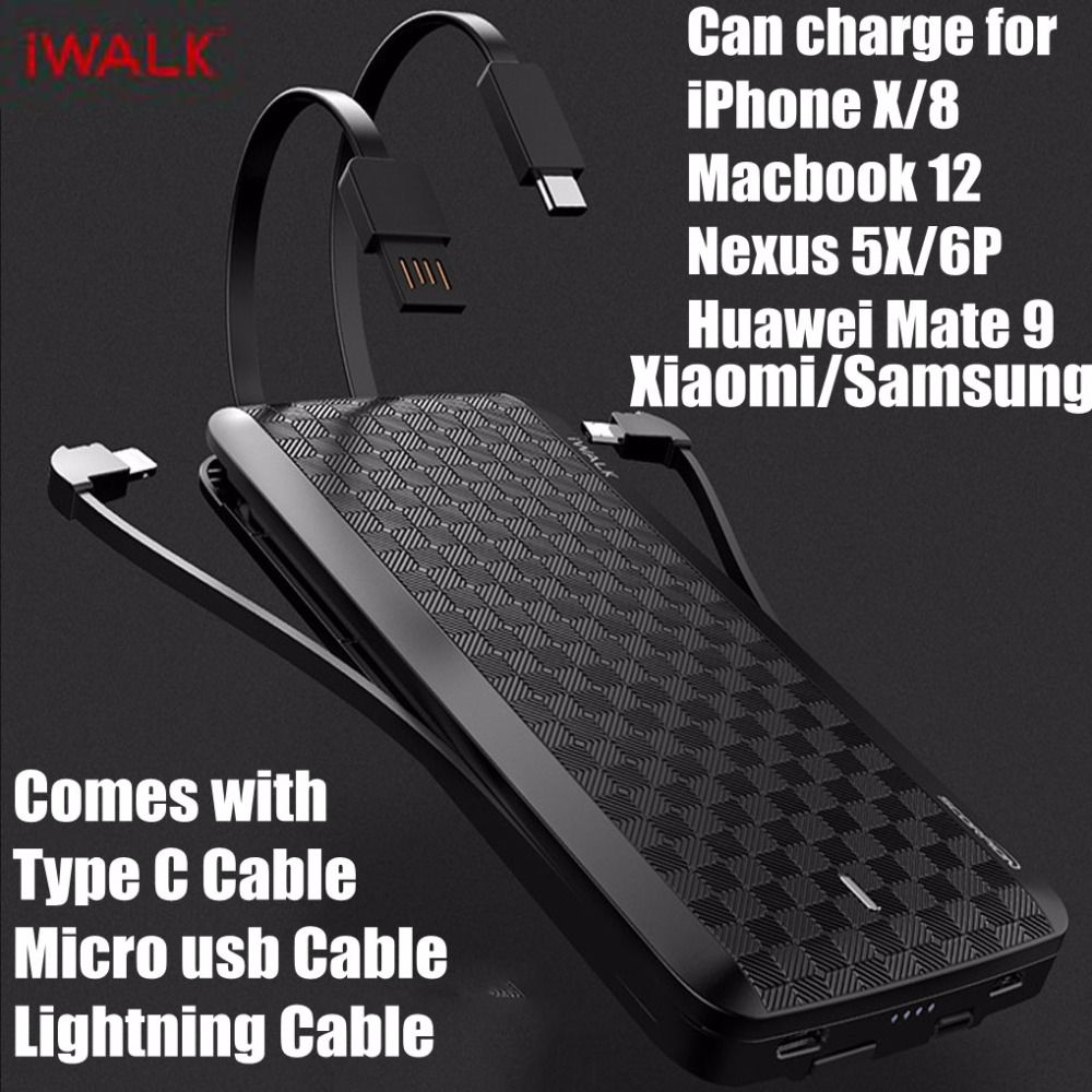 iWalk Quick Charge 3.0 Power Bank 12000mah MFI With Type C 8 Pin Cable for iPhone X 8 Xiaomi Mi8 Huawei P20 Oneplus Samsung S9