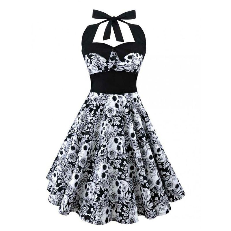 5XL Grande taille crâne imprimé robe Femmes punk bretelles halter partie robes Bowknot auto gothique robe vêtements Swing 1950 s 60 s