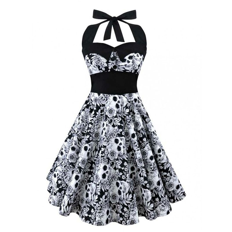 5XL Large size skull printed dress Women punk strapless halter party dresses Bowknot <font><b>self</b></font> gothic dress clothing Swing 1950s 60s