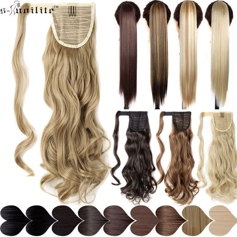SNOILITE 17''23'' Long Wavy Ponytails Clip In Synthetic Pony Tail Fake Hair Extension wrap round black blond hairpiece for women