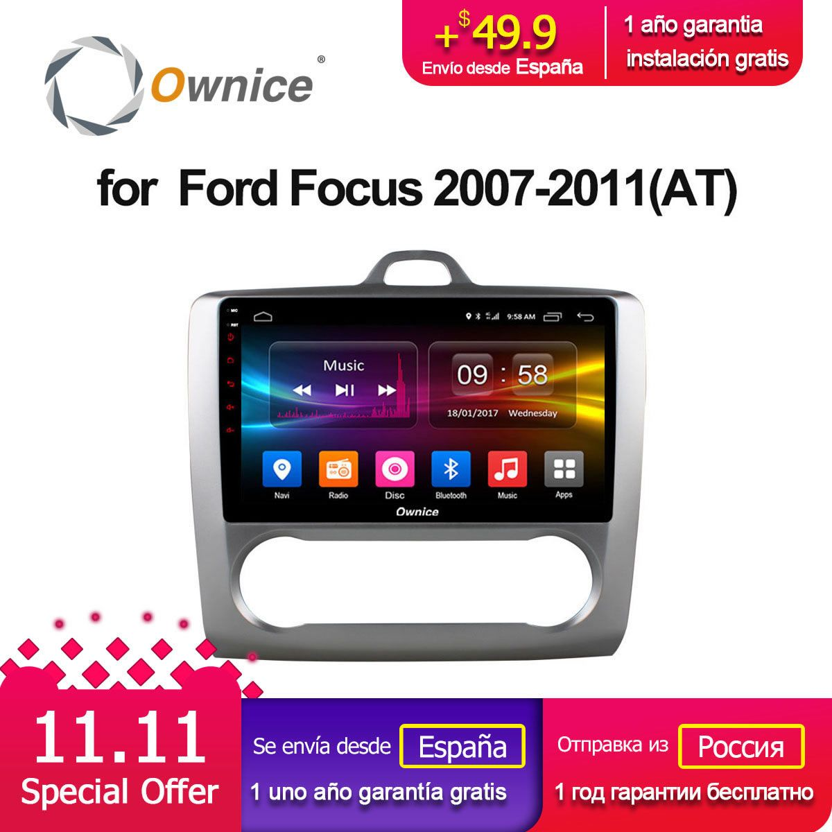 Ownice C500+ G10 Octa Core Android 8.1 Car Radio DVD player GPS Navi 2G/32G Support 4G For Ford Focus 2007 2008 2009 2010 2011