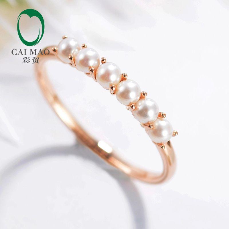 Caimao Solide 9KT Gold Runde Süßwasser Perle Engagement Hochzeit Exquise Ring
