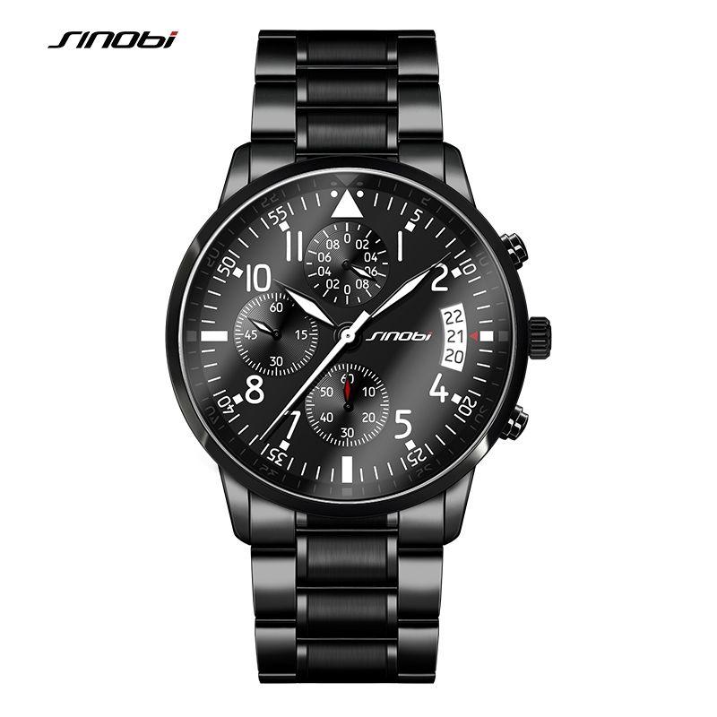 SINOBI New Pilot Mens Chronograph Wrist Watch Waterproof Date Top Luxury Brand Stainless Steel Diver Males Geneva Quartz Clock