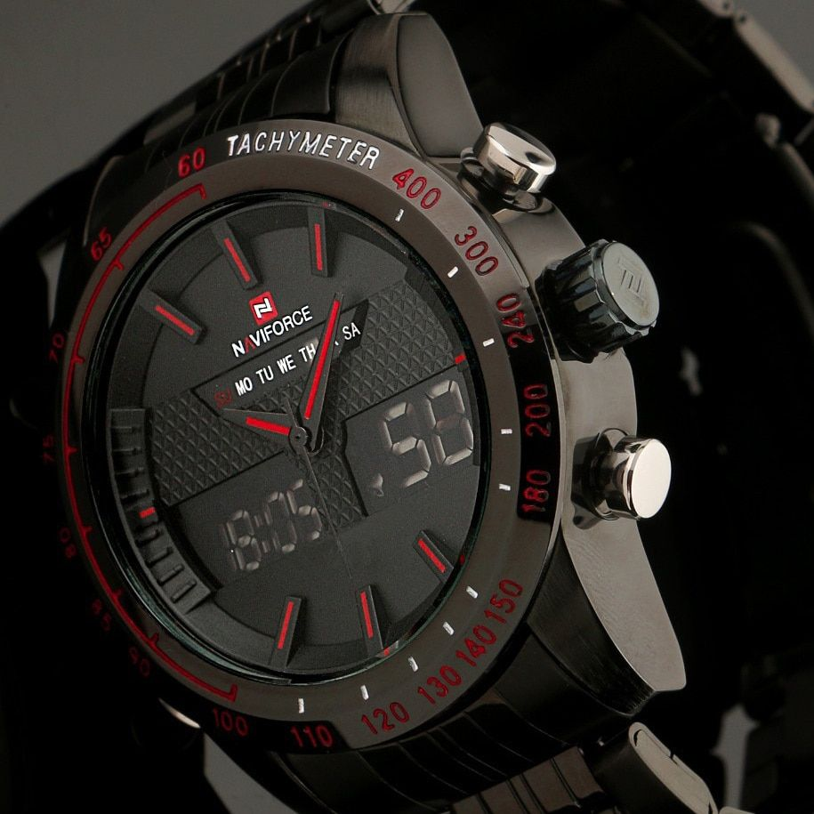 2017 New Fashion Men Watches Full Steel Men's Quartz Hour Clock Analog LED Watch Sports Military Wrist Watch Relogio Masculino