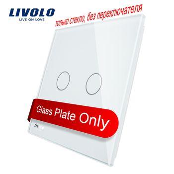 Livolo Luxe White Pearl Crystal Glass, standard de L'UE, unique En Verre Panneau Pour 2 Gang Mur Tactile Interrupteur, VL-C7-C2-11 (4 Couleurs)