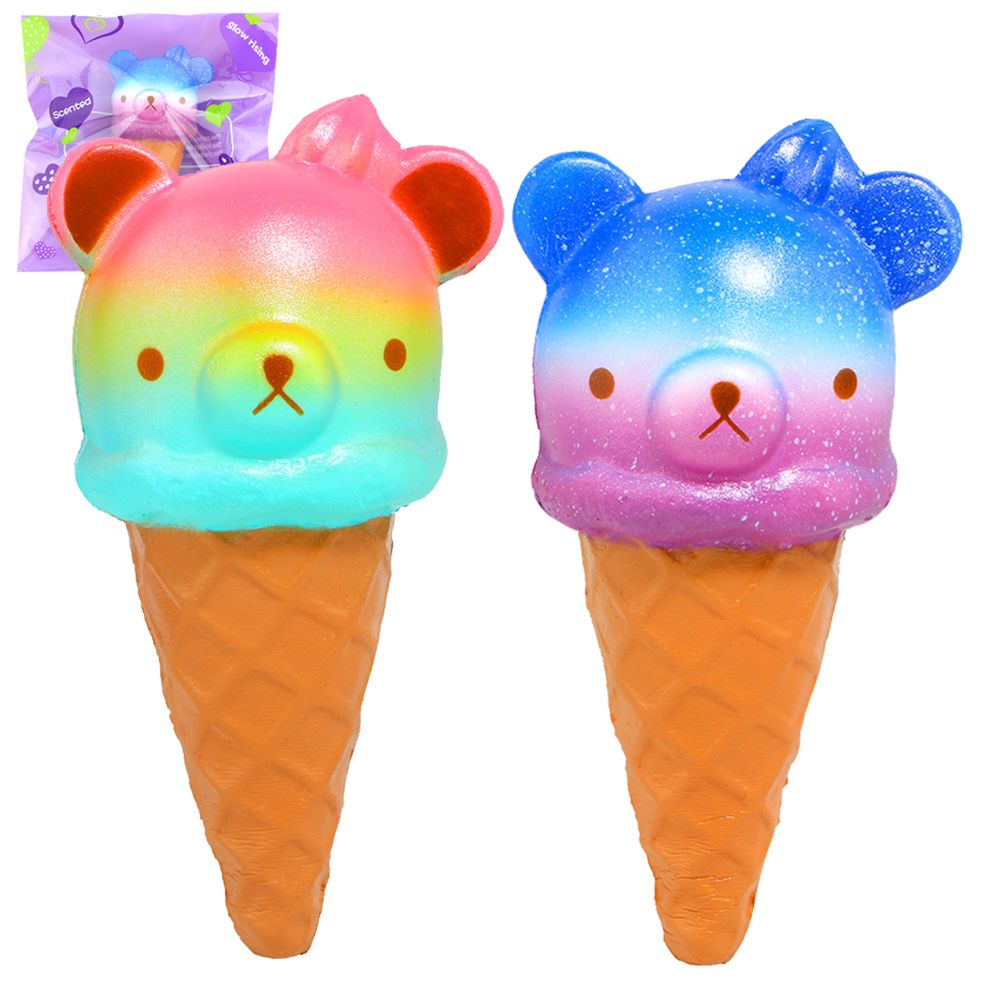 Jumbo Cute Squishy Colorful Bear Ice Cream Super Slow Rising Scented Phone Strap Toy Gift Original Package