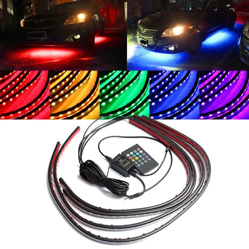 4x Waterproof RGB 5050 SMD Flexible LED Strip Under Car Tube Underglow Underbody System Neon Light Kit With Remote Control DC12V