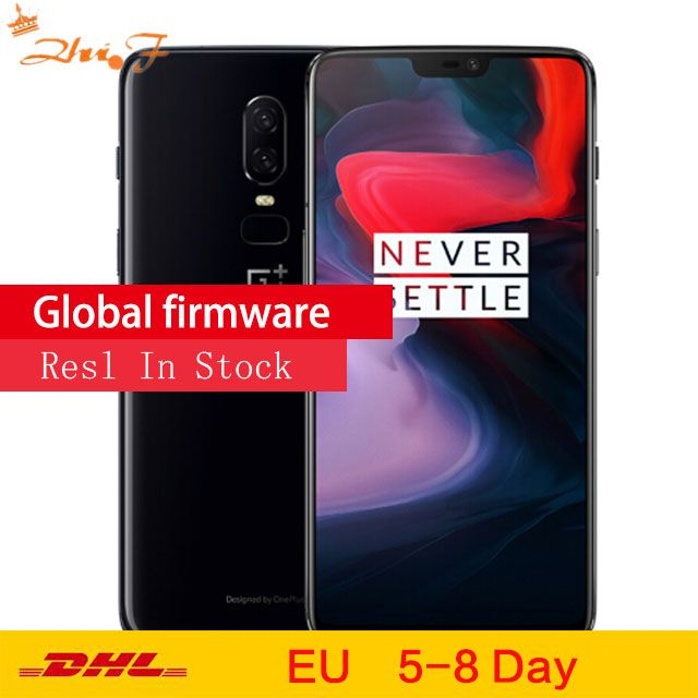 Original OnePlus 6 GB 64 GB Snapdragon 845 Octa Core AI Dual Kamera 20MP + 16MP Gesicht Entsperren Android 8 Smartphone handy