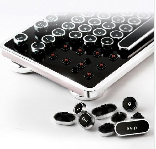 Bricolage rétro steam punk machine à écrire mécanique clavier keycaps clé cap 104/87 touches pour gaming gamer clavier décoration