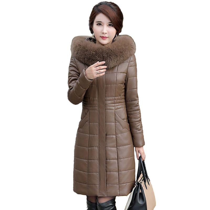2018 Winter Leder Unten jacke Frauen Schaffell Mantel Plus größe L-8XL Mit Kapuze Parkas Weibliche Dicke Warme Lange Leder Jacken N280