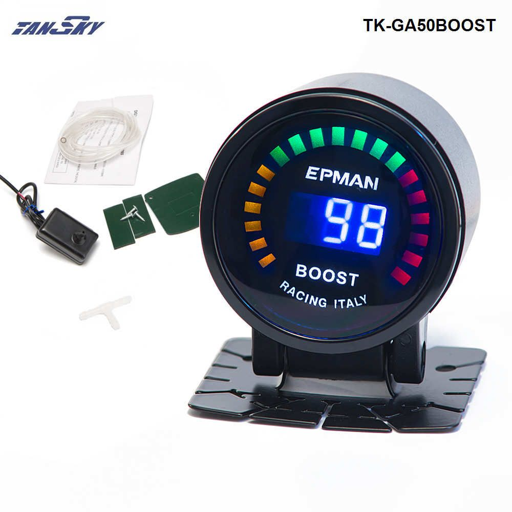 TANSKY - 2015 New EPMAN racing 52mm Smoked LED PSI/BAR Turbo Boost Meter Gauge with Sensor For FORD MUSTANG 86-93 TK-GA50BOOST