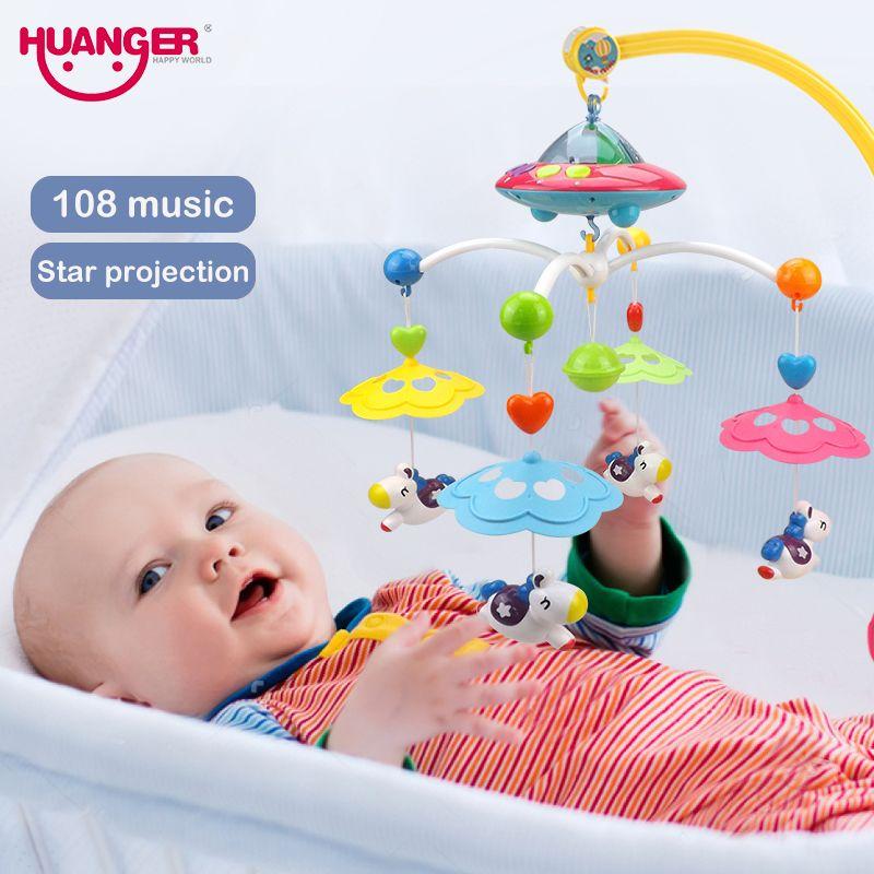 Huanger музыкальный кроватки Мобильная кровать Bell погремушку вращающийся кронштейн проектирование Игрушечные лошадки для 0-12 месяцев новорож...