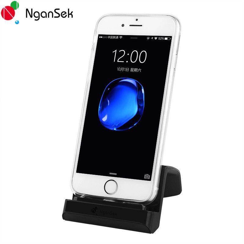 NganSek Charger Dock Charger For iPhone Docking 6 6S 7 Plus Dock Station 5 5s SE 5C Dock Station Black White Bracket Desktop