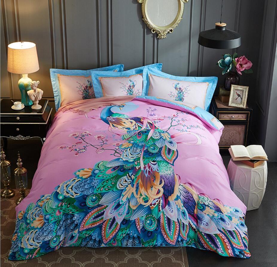 Home Textile Queen King Size Peacock Print Bedding Sets Cotton Colorful Bedclothes Bohemian Duvet cover Bed sheet Pillowcases