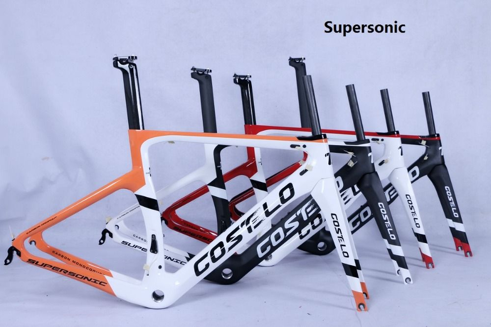 Costelo supersonic road bike carbon fiber bicycle frame fork clamp seatpost Carbon Road bicycle disc thru axle Bici velo
