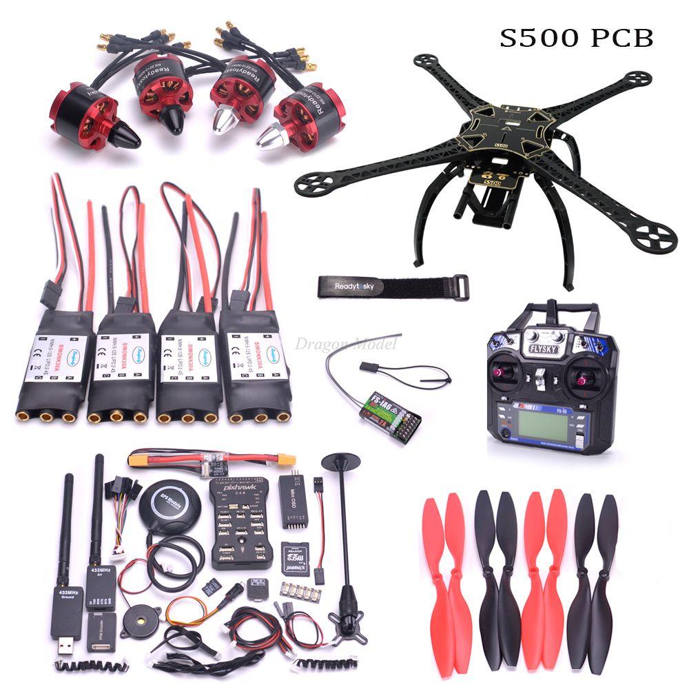 S500 500mm PCB Quadcopter Frame Pixhawk 2.4.8 M8N GPS Power Module 2212 920kv motor 433MHz 100mw telemetry Flysky FS I6 mode 2