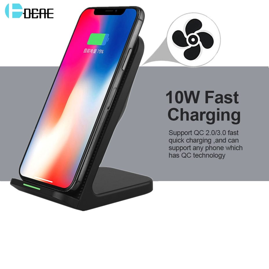 DCAE 10W Wireless Charger For Samsung Galaxy S9 S8 S7 S6 Edge Note 8 Qi Wireless Charging Dock For iPhone X 8 8 Plus USB Charger
