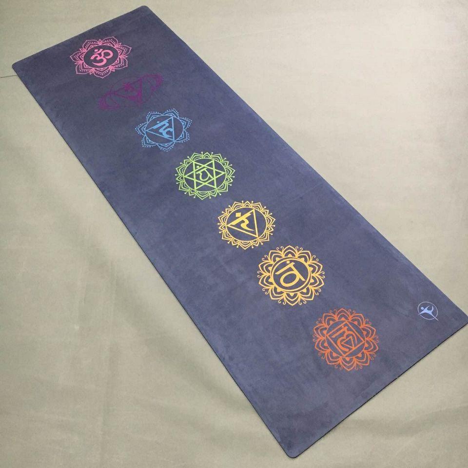 Lila farbe 7 coulorful runde wildleder haut Naturkautschuk umweltfreundliche rutschfeste Hot Yoga beste yoga-matte Fitness gummi matte