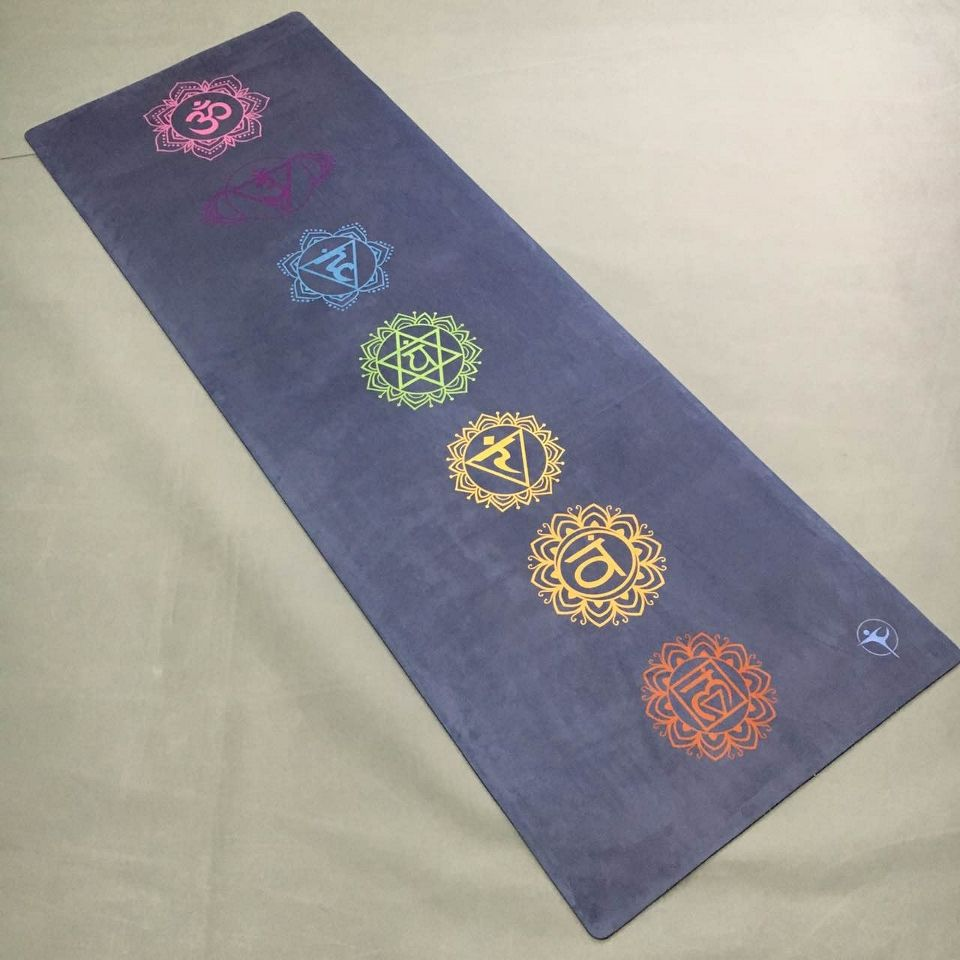 Purple color 7 coulorful round suede skin Natural Rubber eco-friendly slip-resistant Hot Yoga best yoga mat Fitness rubber mat