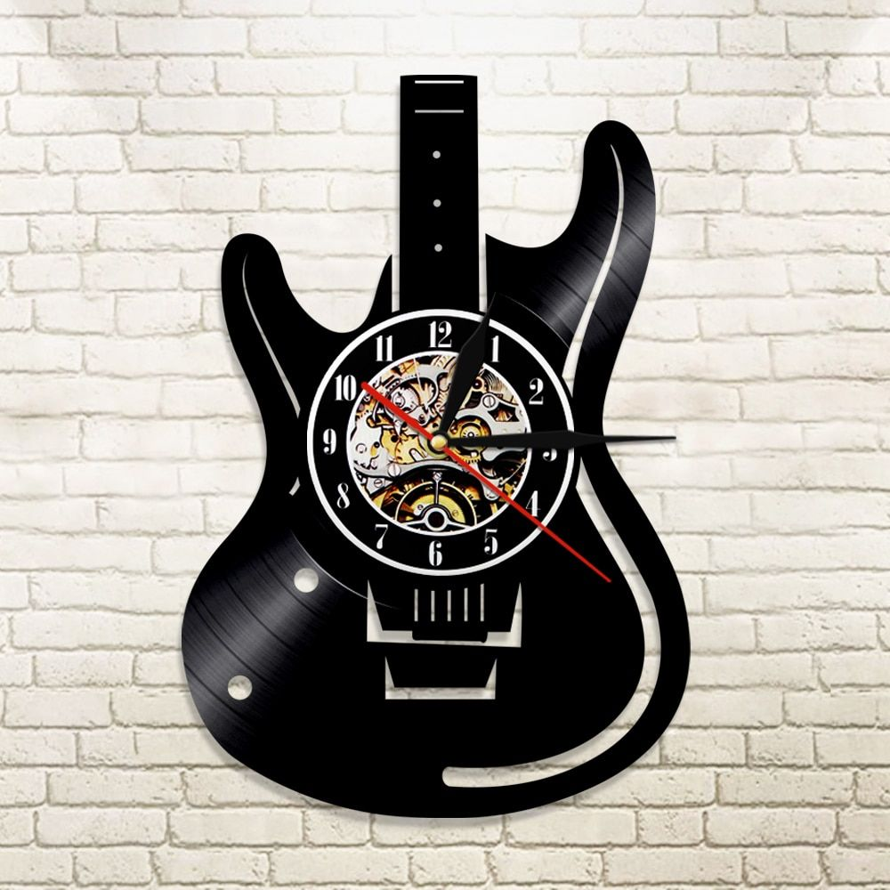 1Piece Guitar Vinyl Record Wall Clock Music Vintage LP Wall Clock Home Decor Musical <font><b>Instruments</b></font> Gift For Music Lover Guitarist