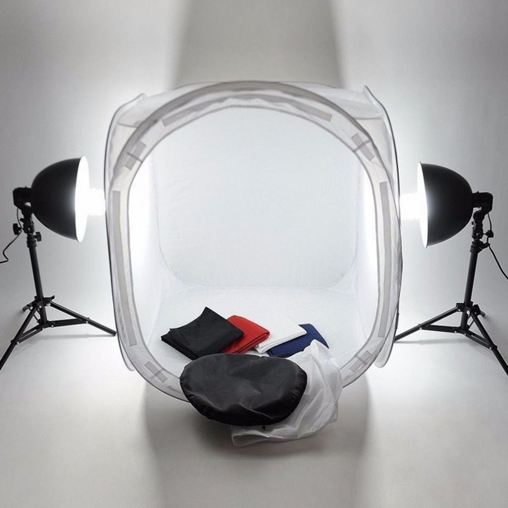 1 Sets 60cm Photo Studio Softbox Soft Box Photography Light Tent Foldable White Cubic Box Studio Props Kit With 4 Backdrops