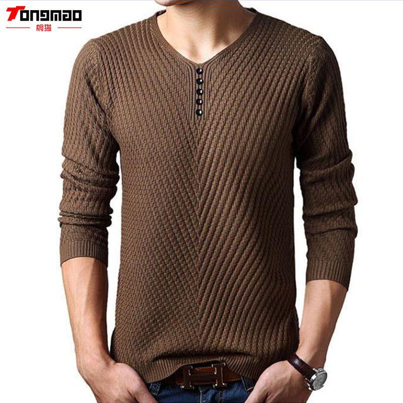 Зимние Для мужчин свитер теплый кашемировый одноцветное Цвет v-образным вырезом пуловер Для мужчин Повседневное с длинным рукавом Slim Fit вяз...