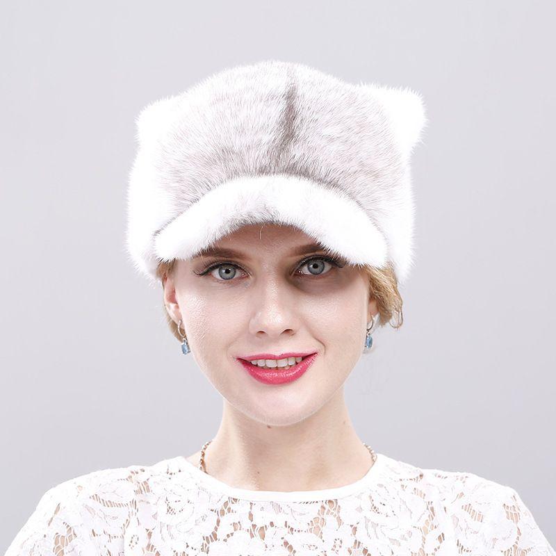 2018 ms mink hat sable cap grass season warm earmuffs cat ears fashion baseball cap