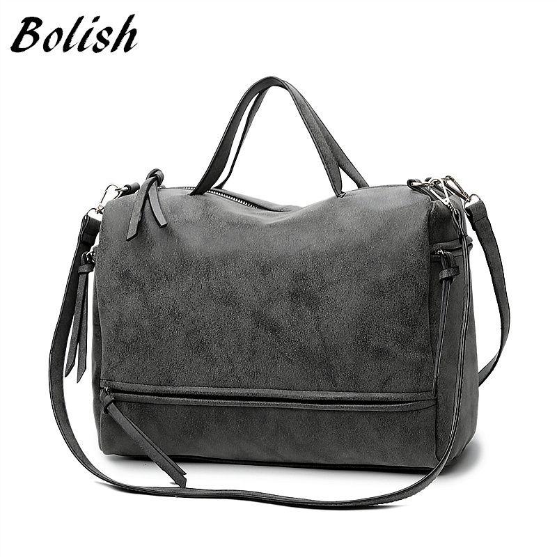 Bolish Brand Fashion Female Shoulder Bag Nubuck Leather women handbag Vintage <font><b>Messenger</b></font> Bag Motorcycle Crossbody Bags Women Bag