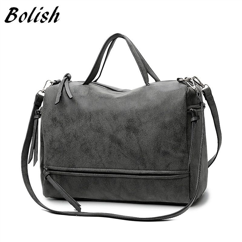 Bolish Brand Fashion Female Shoulder Bag Nubuck <font><b>Leather</b></font> women handbag Vintage Messenger Bag Motorcycle Crossbody Bags Women Bag