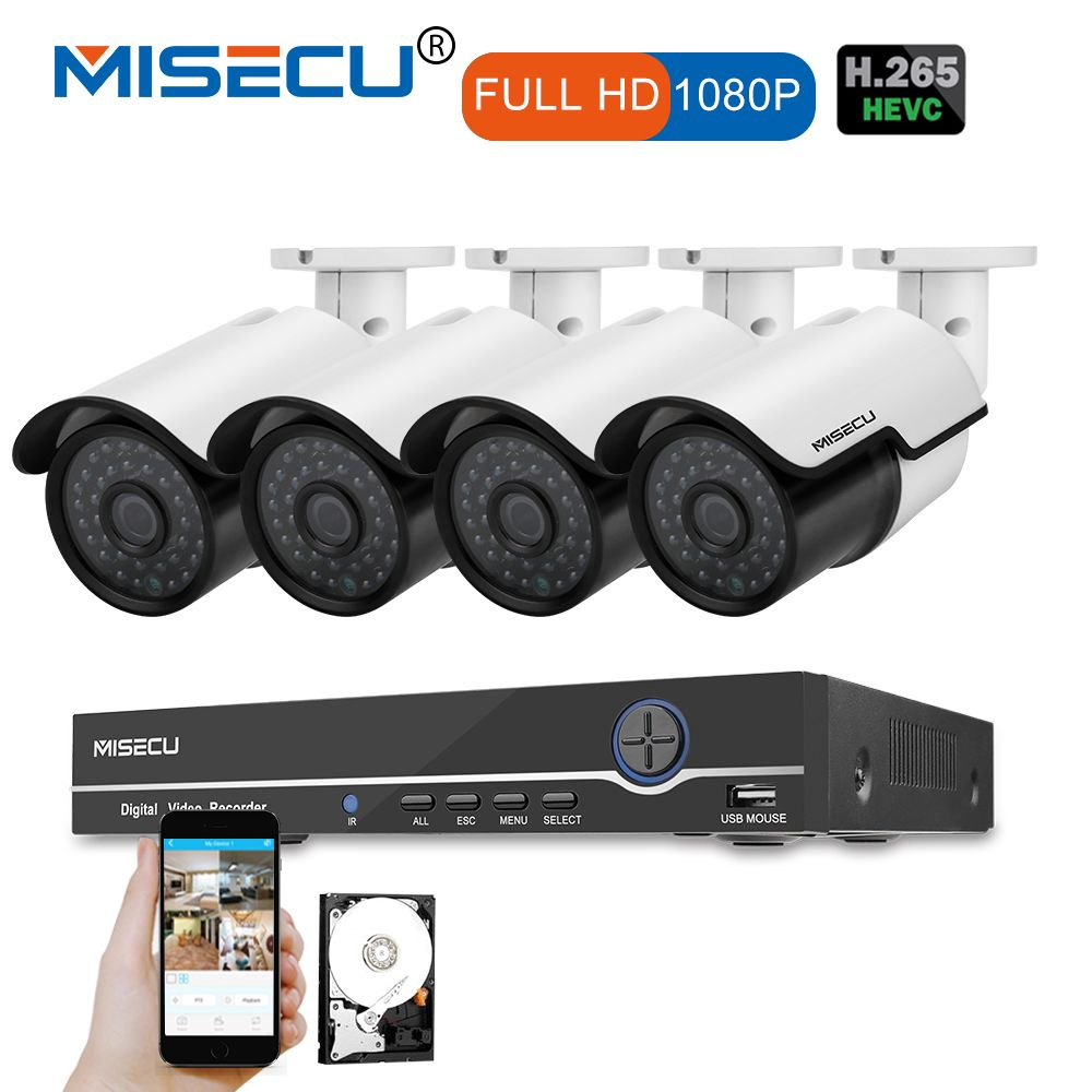 MISECU 1080P HDMI 8CH NVR KIT real POE 48v 2.0MP POE IP Camera Night Vision Waterproof IR P2P Onvif CCTV 4pcs Surveillance cctv