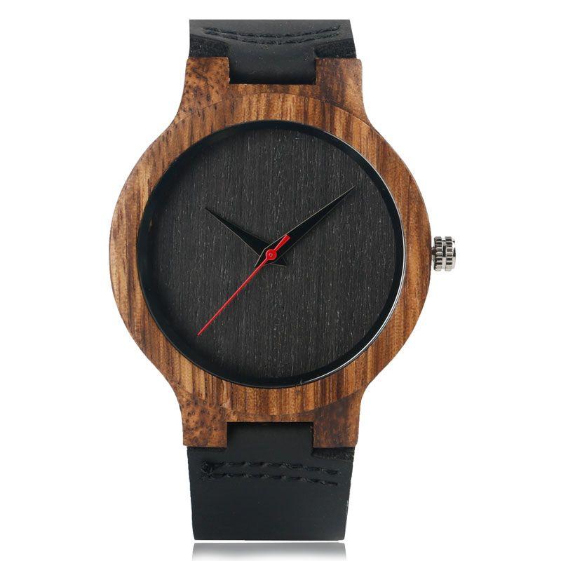 En bois Montres À Quartz Montre Hommes 2017 Bambou Moderne Montre-Bracelet Analogique Nature Bois De Mode En Cuir Souple Creative Cadeaux D'anniversaire