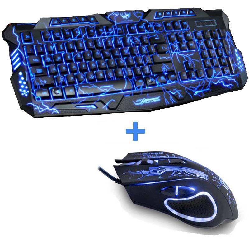 Nouveau Rouge/Pourpre/Bleu Led Rétro-Éclairage USB Filaire Ordinateur Portable PC Pro Gaming Clavier Souris Combo pour LOL Dota 2 Gamer Clavier Souris Combo